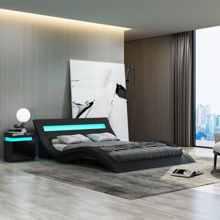 Modern Double Size Leather Bed Frame with LED Light Black