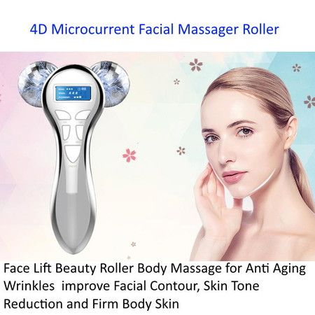 4D Microcurrent Face Lift Beauty Massager Roller  for Anti Aging Wrinkles, improve Facial Contour,Firm Body Skin