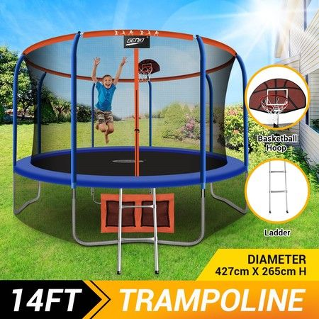 Genki 14ft Round Kids Trampoline with Safety Enclosure & Basketball Hoop