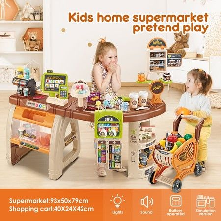 65 Accessories Kids Pretend Role Play Shop Grocery Supermarket Toy Set with Trolley