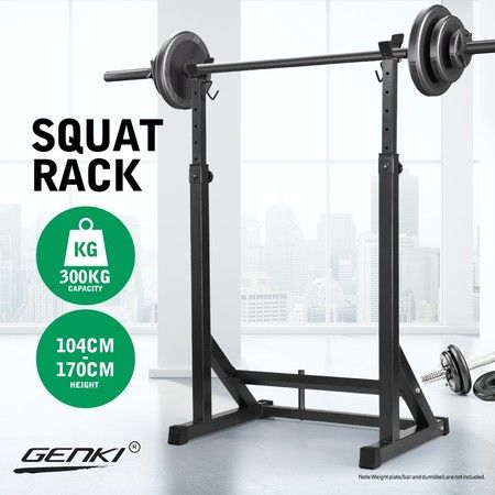 Genki Adjustable Squat Rack Fitness Exercise Weight Lifting Barbell Stand