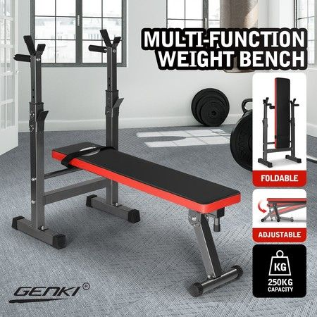 Genki Folding Adjustable Weight Bench with Barbell Rack for Home Gym