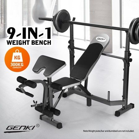 Genki Multi-Station Weight Bench Home Gym Fitness Equipment Black