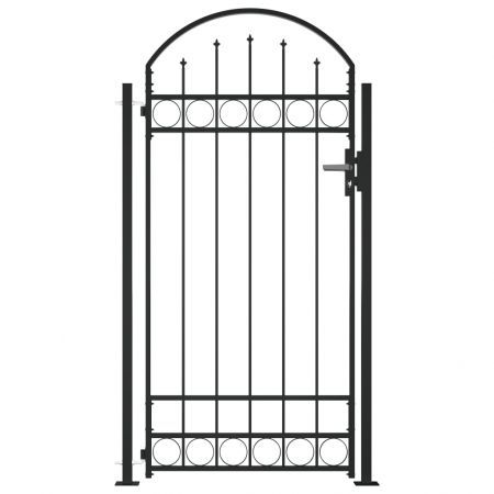 Fence Gate with Arched Top and 2 Posts 100x200 cm Black