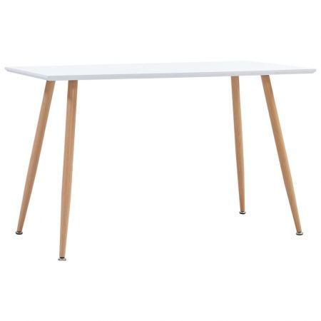 Dining Table White and Oak 120x60x74 cm MDF