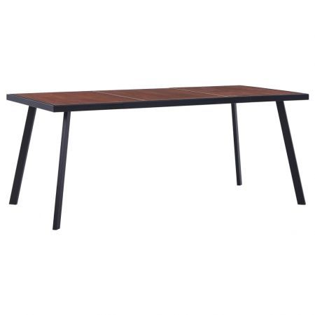 Dining Table Dark Wood and Black 180x90x75 cm MDF