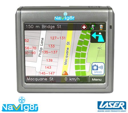 "Laser Navig8r 3.5"" M35 GPS Navigation System with Map and Multimedia Functions"