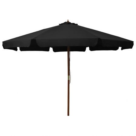 Outdoor Parasol with Wooden Pole 330 cm Black