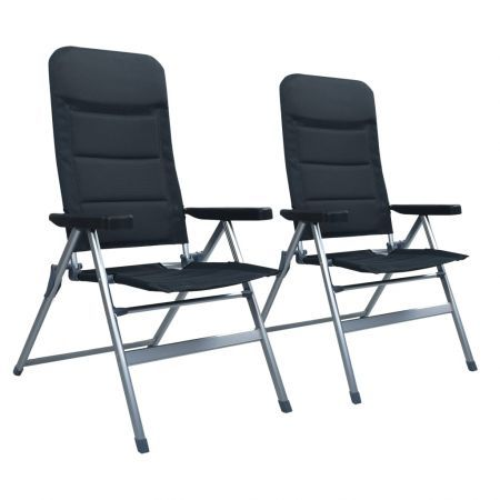 Reclining Garden Chairs 2 pcs Aluminium Black