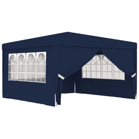 Professional Party Tent with Side Walls 4x4 m Blue 90 g/m?