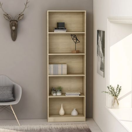 5-Tier Book Cabinet Sonoma Oak 60x24x175 cm Chipboard