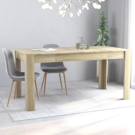 Dining Table Sonoma Oak 160x80x76 cm Chipboard