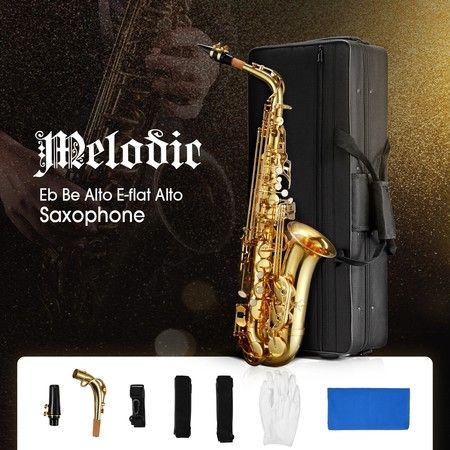 Melodic Saxophone Sax Eb Be Alto E Flat Brass w/ Mouthpiece for Student Beginner