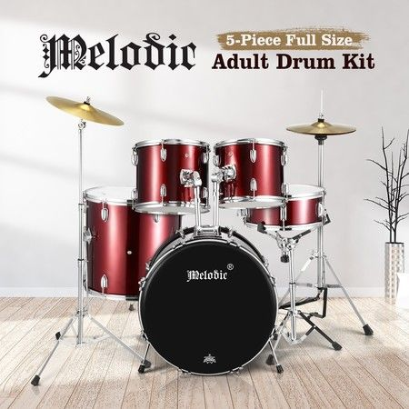 Melodic Full-size 5 Piece Drum Kit with Double Braced Hardware Cymbals Stool Red