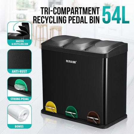 54L Triple Compartment Pedal Bin Kitchen Recycling Waste Bins Coated Steel Black