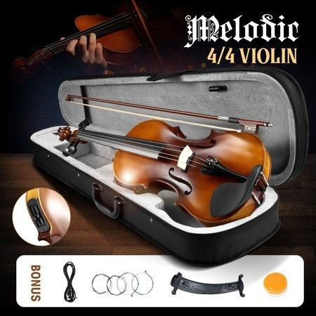 Melodic Full-size 4/4 Electric Violin with Carrying Case Nature
