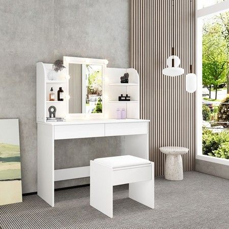 White Dressing Table Makeup Vanity, Led Mirror Dressing Table And Stool
