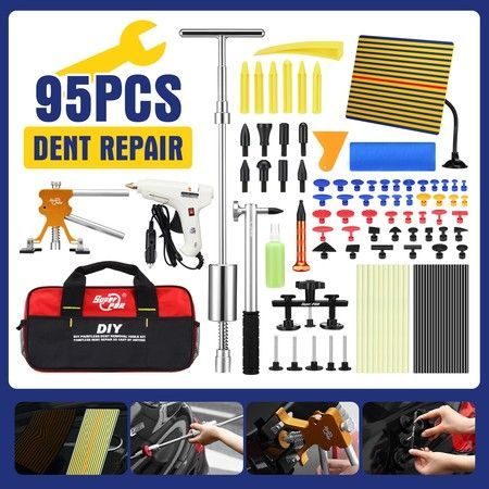 Professional 95 Pieces PDR Paintless Dent Repair Tool Kit Car Dent Removal Puller