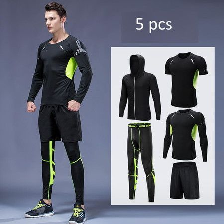 Size XL   5PCS Men's Gym  Fitness Compression Clothes Athletic Short Long Sleeve Coat Pants