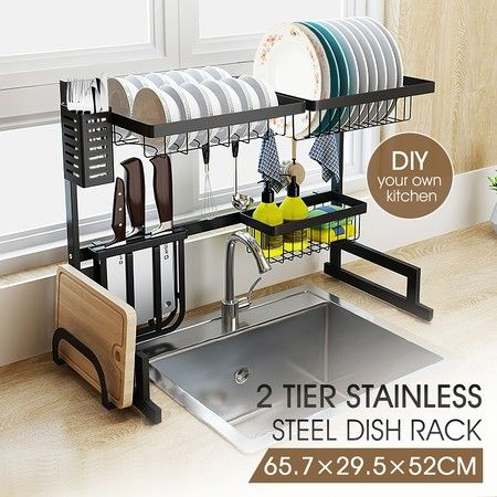 large kitchen dish rack over the sink dish drying rack stainless steel with utensil holders