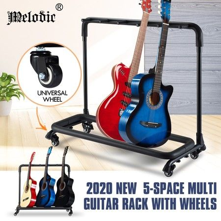 Melodic Multiple Guitar Stand 5 Holder Guitar Rack Foldable Portable with Wheels