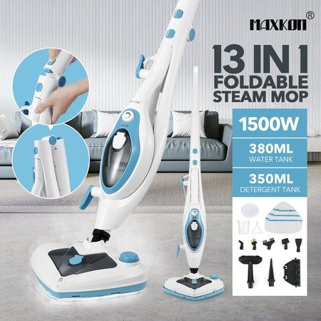 Maxkon Multifunctional Foldable Steam Mop Cleaner 13-in-1 Floor Tile Hardwood Clothes