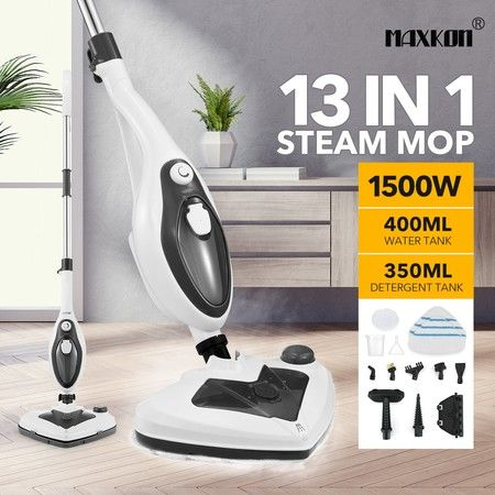 Maxkon 13-in-1 Steam Mop Cleaner Multi-Purpose Handheld Steamer Floor Carpet Black