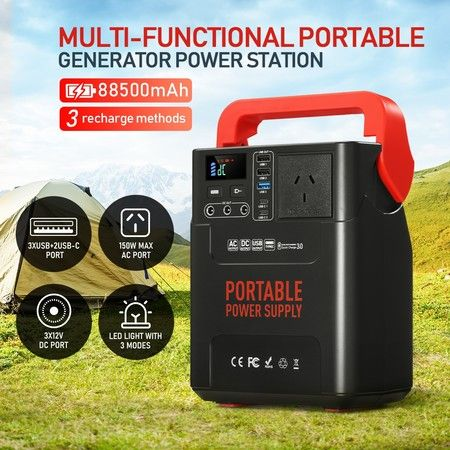 Portable 88500mAh 328WH Power Station 150W Solar Generator Battery Backup