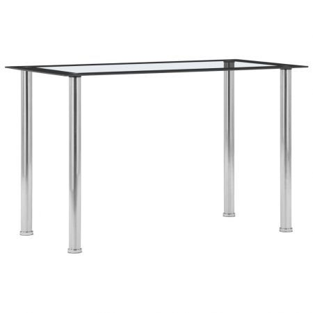 Dining Table Black and Transparent 120x60x75 cm Tempered Glass