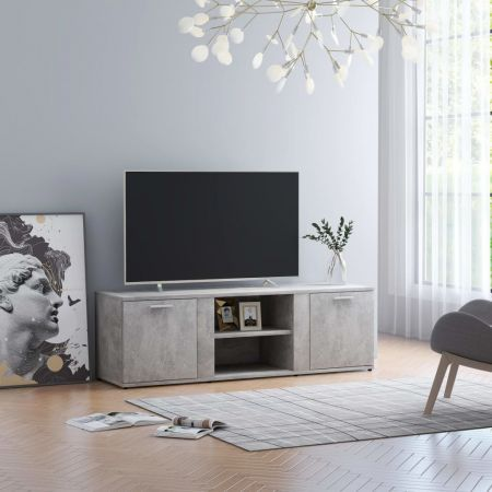TV Cabinet Concrete Grey 120x34x37 cm Chipboard