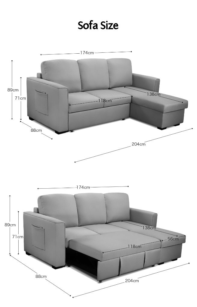 Sofa Bed Lounge Set Futon Couch 3 Seater Storage Chaise