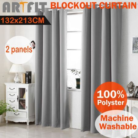 2X Blockout Curtains Thermal Blackout Curtains Eyelet Pure Fabric Pair - Grey