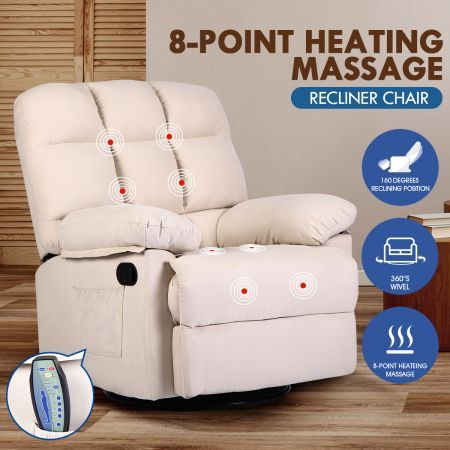 360 Degree Swivel Recliner Rocking Armchair 8 Point Heated Massage Chair Beige