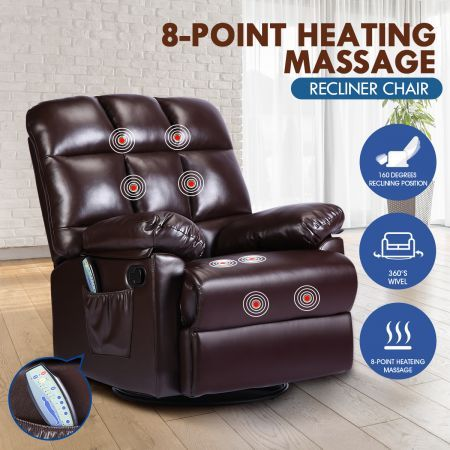 PU Leather Recliner Massage Chair 360-Degree Swivel 8-Point Heating Seat