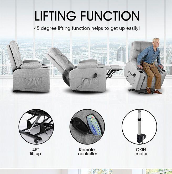Lift Motor Recliner Massage Chair 8 Point Heating Armchair