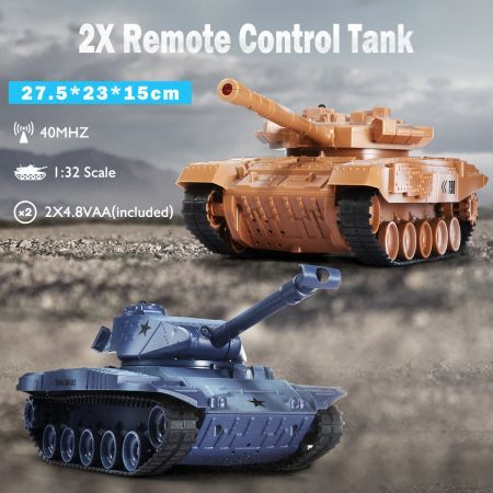 2-Pack Wireless Remote-Control Tank RC Cars for Children Kids Toddler