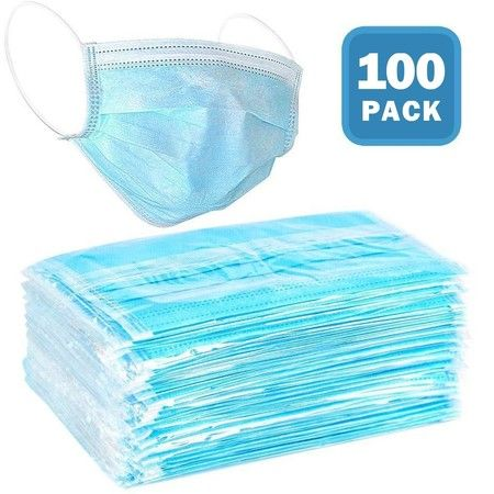 100 Disposable 3-ply Face Mask w/ Elastic Ear Loops Breathable Non-Woven