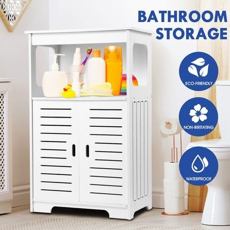 Freestanding Bathroom Cabinet Storage Shelf Organiser Stand Waterproof Cupboard