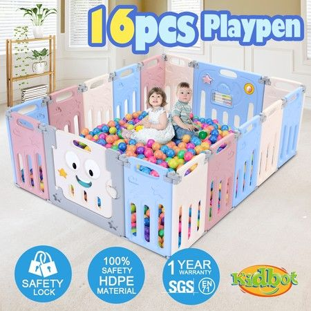 ABST 16 Panel Baby Safety Gate Playpen Toddler Fence Barrier Elephant Design