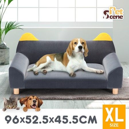 Petscene Flannelette Pet Bed Dog Cat Couch Sofa Lounge with Ears & Legs