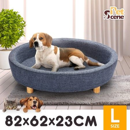 Petscene Round Raised Pet Bed Linen Fabric Large Elevated Dog Cat Bed Couch Sofa