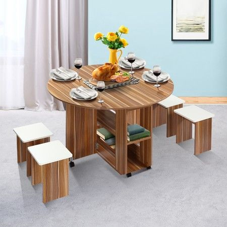 Wooden Folding Dining Table And 4, Wooden Folding Dining Room Chairs