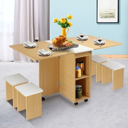 Multifunctional 5 Piece Foldable Dining Table and Chair Set Wooden Home Furniture