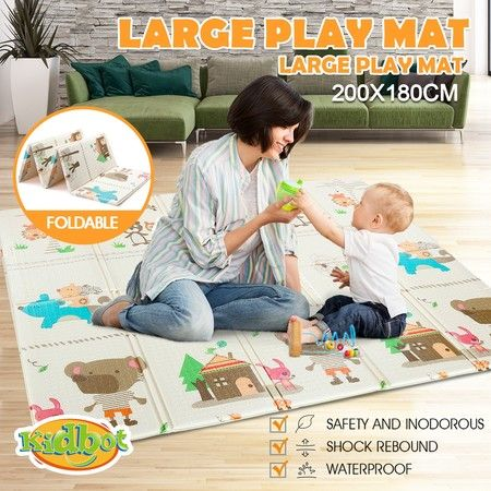 200cmx180cm 15mm Thick Baby Play Mat with Animal and Alphabet Print
