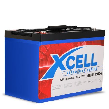 X-Cell 100Ah AGM Battery Deep Cycle 12v Marine Solar Camping Glass Matt 4WD Volt