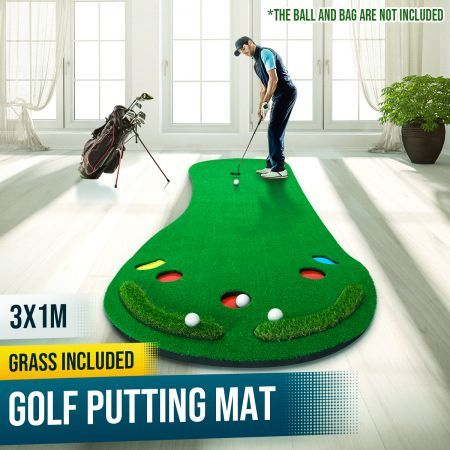 Home Golf Putting Mat Putting Green with Slope Golf Training Course-Artificial Grass Surface