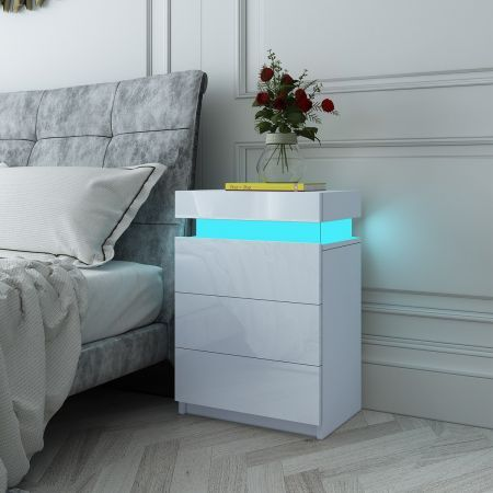 White Modern Nightstand Bedside Tables 3 Drawers High Gloss Front RGB LED