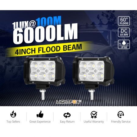 2X 4inch CREE LED Work Light Bar Flood Driving Lamp Offroad 4WD Reverse