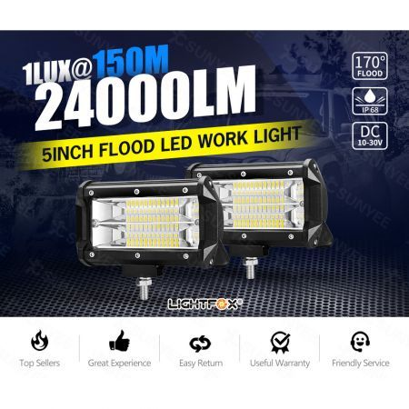 2x 5inch Cree LED Work Light Bar Pods Flood Driving ATV TRUCK SUV OffRoad 4WD