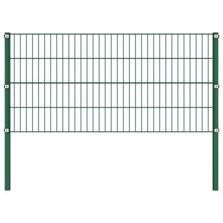 Fence Panel with Posts Iron 1.7 m Green